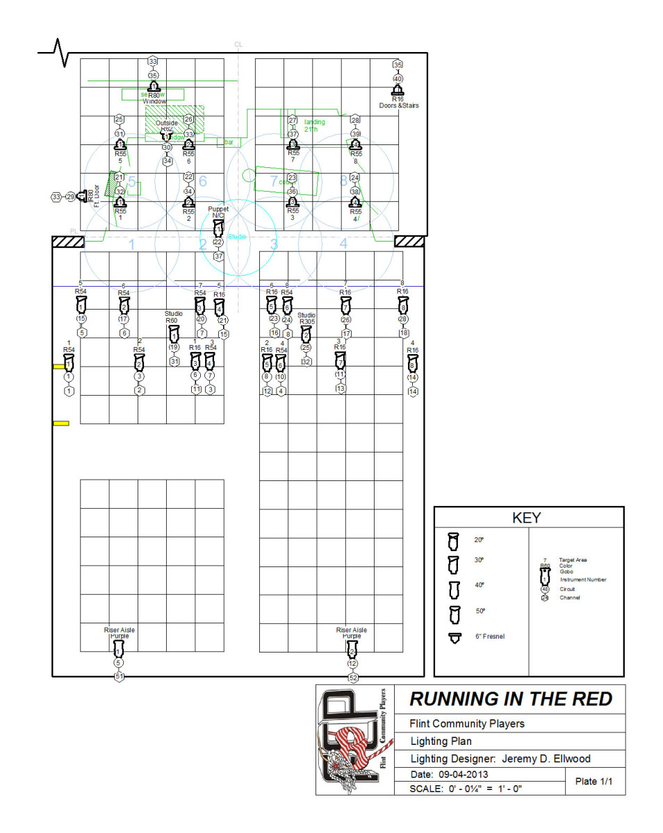 """Light Plot for """"Running in the Red"""" Note: Because I knew the space, I didn't bother labeling all the pipes. They would typically be labeled."""