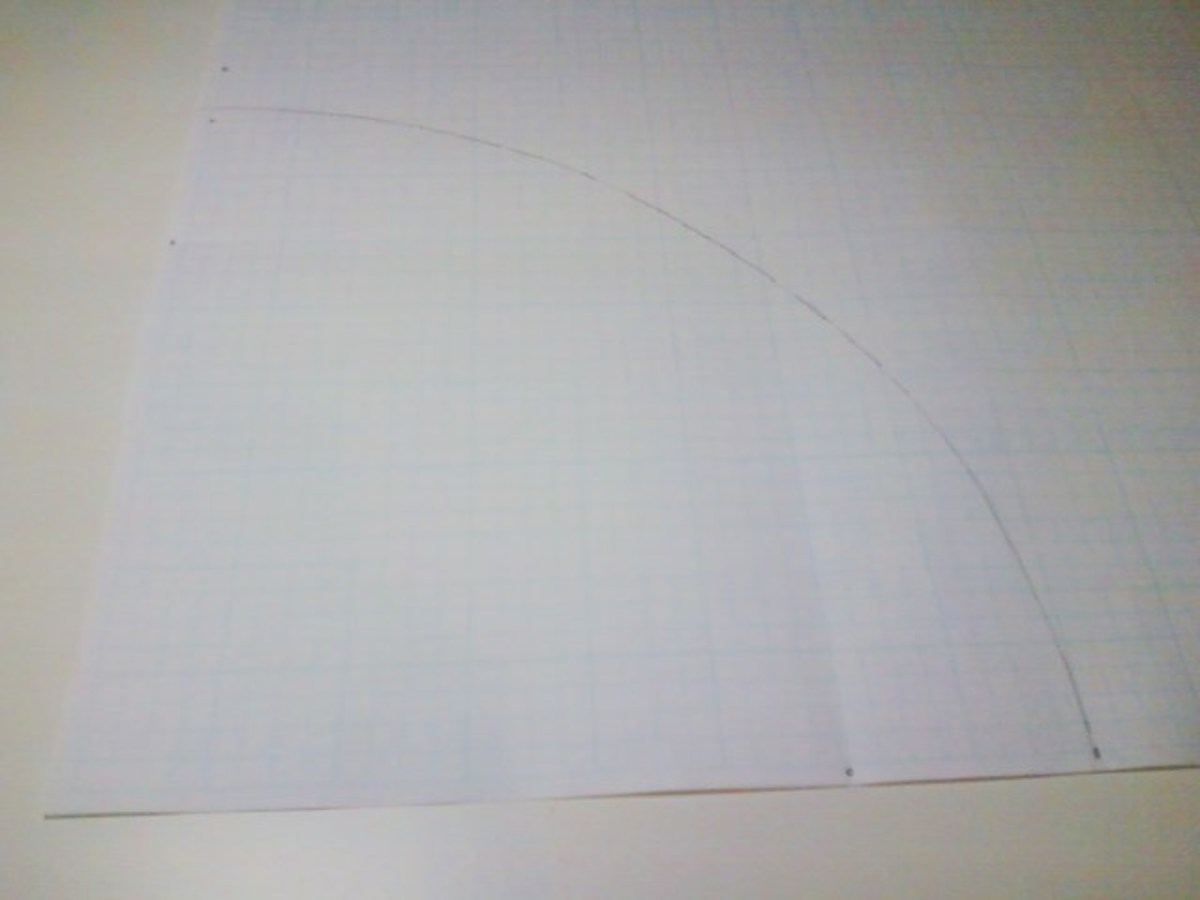 "Here is the completed curve  on my 12"" square piece of drafting paper."