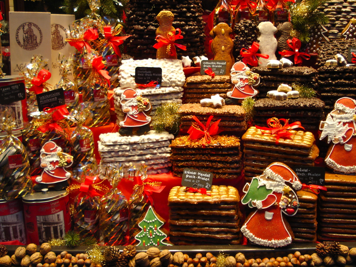 Christmas treats at a booth at a Christkindlmarkt in Germany.