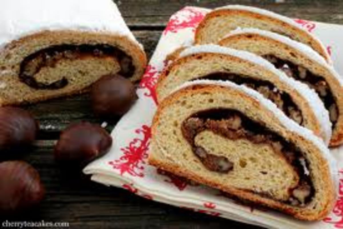 Stollen, a German sweet bread eaten at Christmas time.  I took this into school one year for my colleagues and it all was eaten in five minutes.