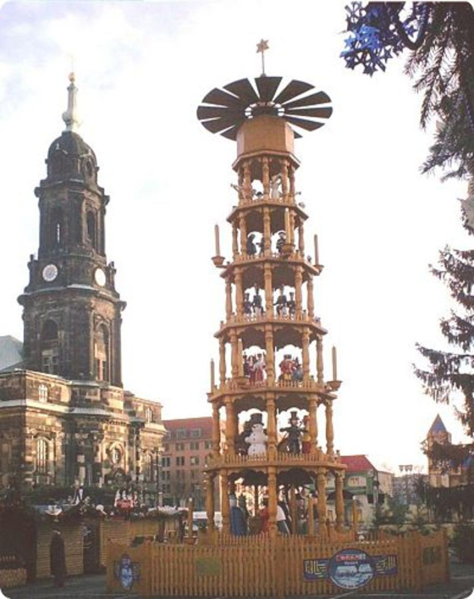 A traditional Christmas pyramid in Dresden, Germany.