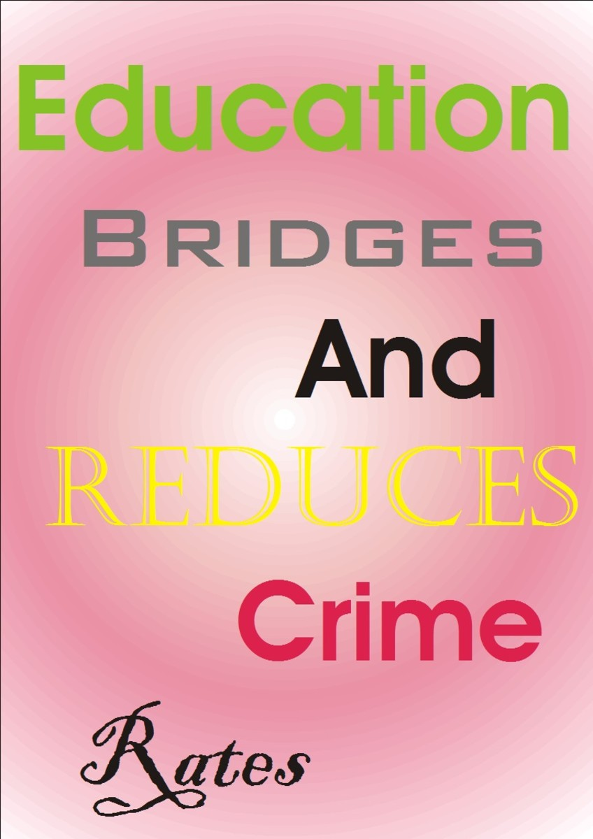 Education as a factor that reduces crime in every society. An educated person have many opportunities and direct his eyes out of crime.