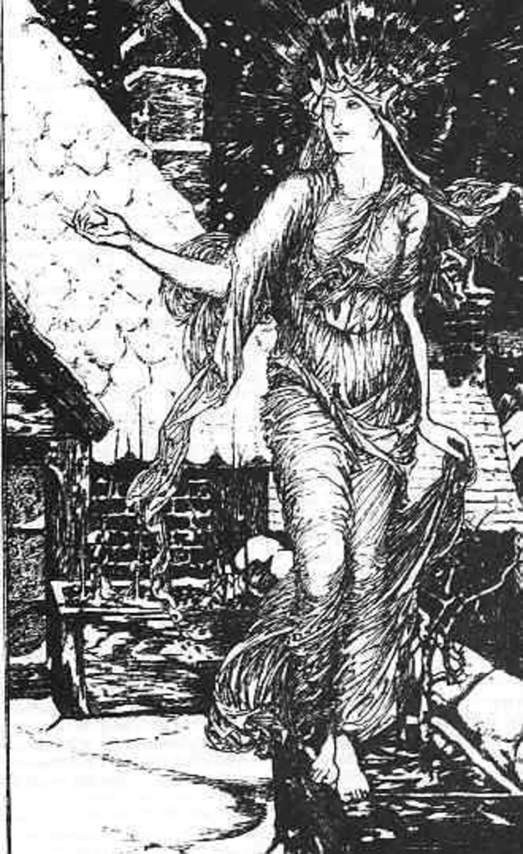 An old drawing of Perchta as White Goddess.