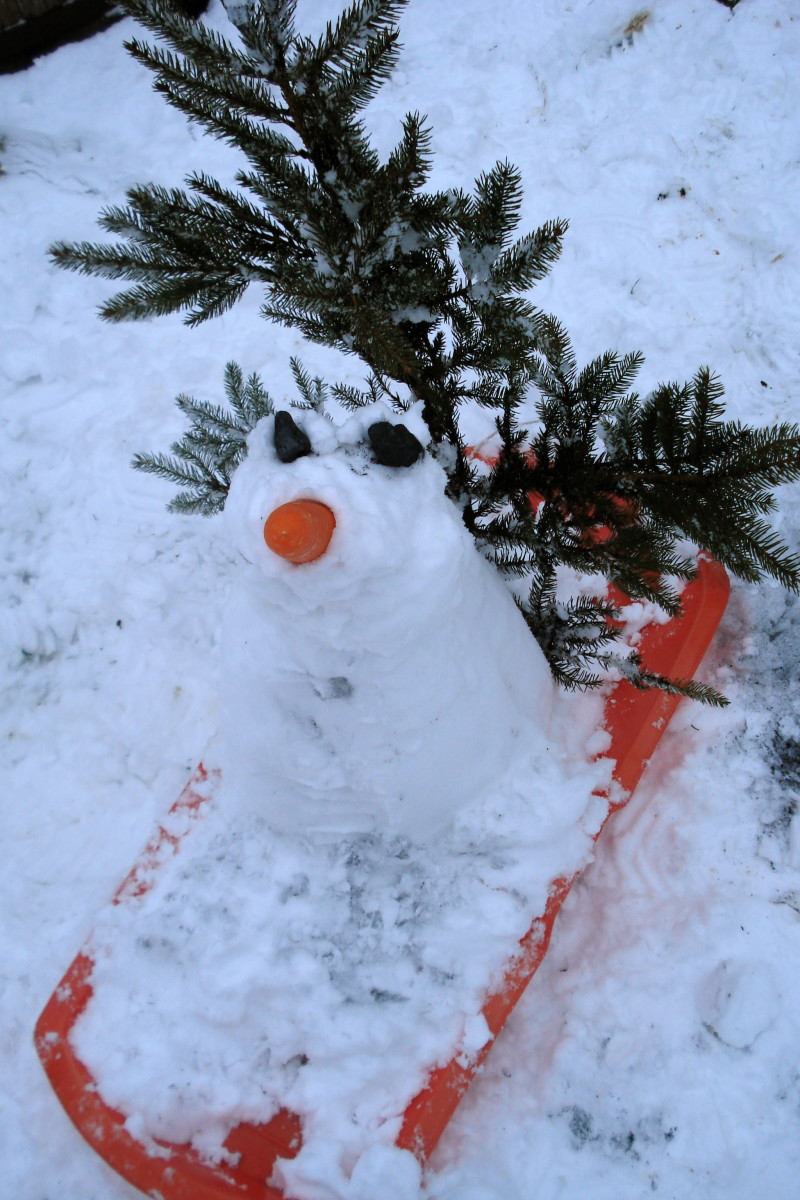This little snowman is ready to go on his little orange sled.