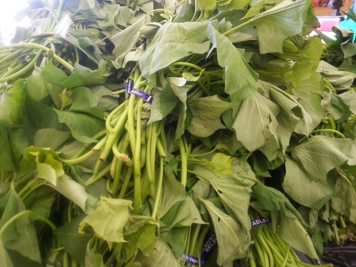 Sweet potato leaves on sale on Asian markets.