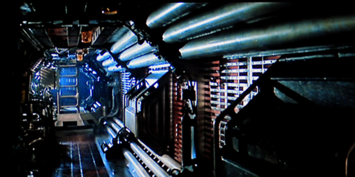 The clautrophobic, pipe-laden corridors of the Nostromo