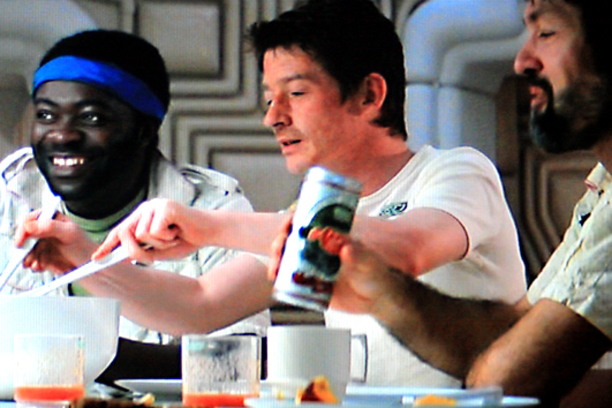 Kane, with Parker and Dallas, enjoys a hearty meal after his experience. All seems well. But something nasty is about to befall the crew ...