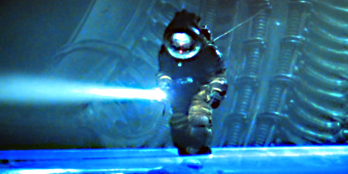 Kane investigates an extraterrestrial ship. The set for this sequence is imaginative yet forbidding. One can sense that something unpleasant lurks here