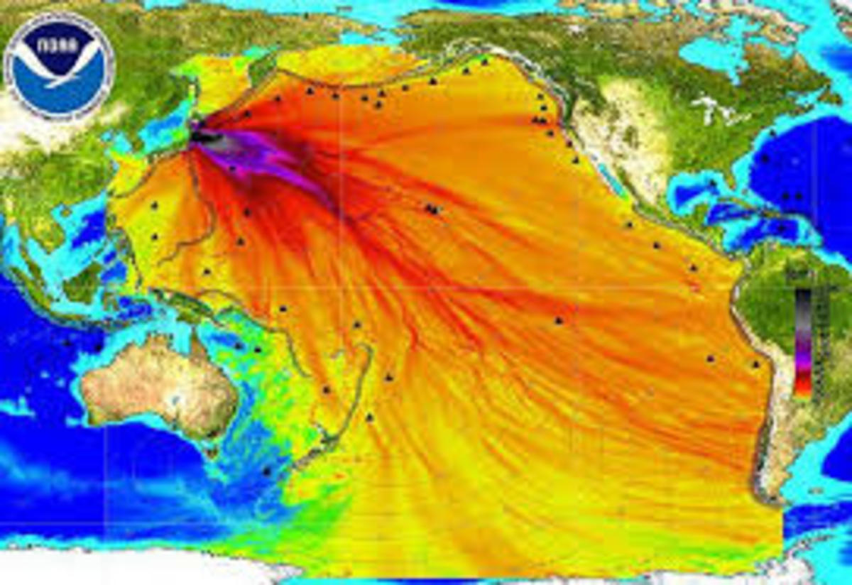 In this photo the dispersal flow of radiation from the Fukushima Disaster indicate that it now covers all of the Pacific Ocean.