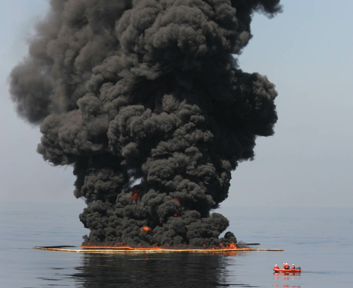 As you can see from this photo the Gulf of Mexico is literally burning up, as 1.6 million liters of oil are spilled into the water everyday!