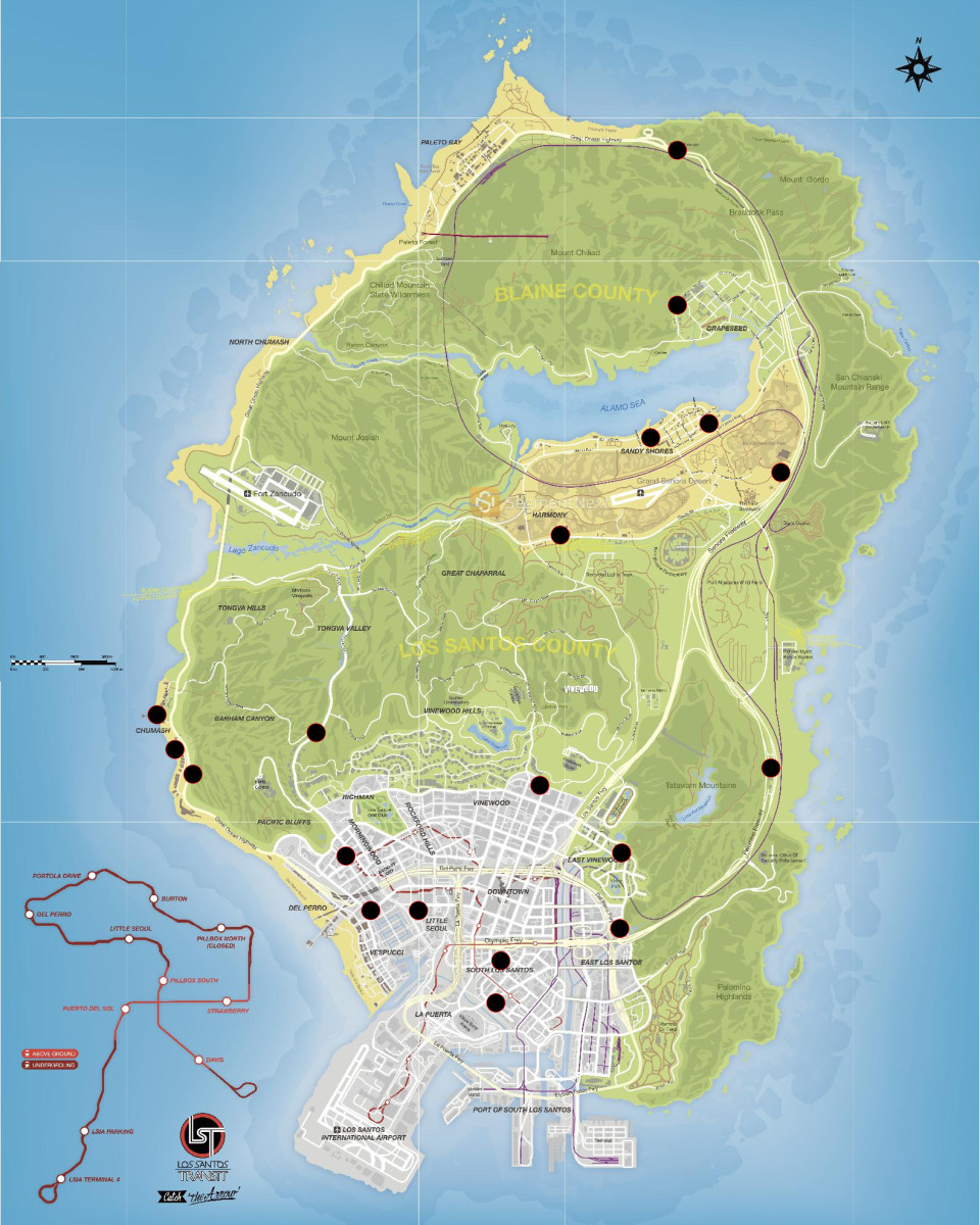 This is a map of Los Santos with all the stores shown as a black dot
