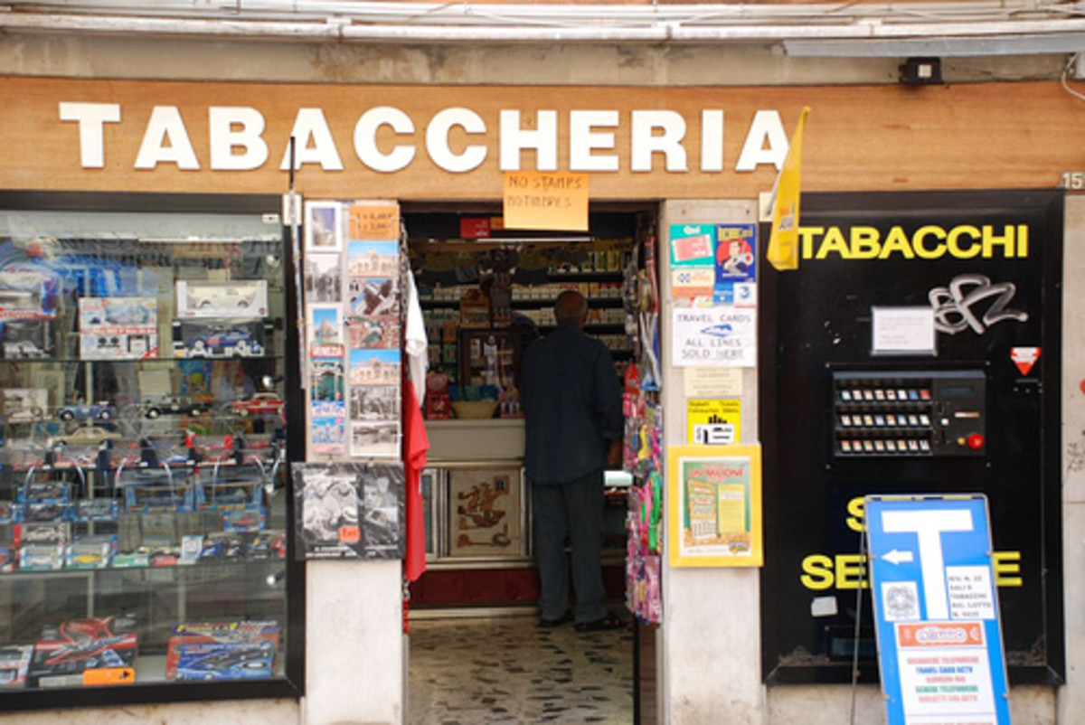 "You can also buy tickets at tobacco stores which are in Italy called ""Tabaccheria"""