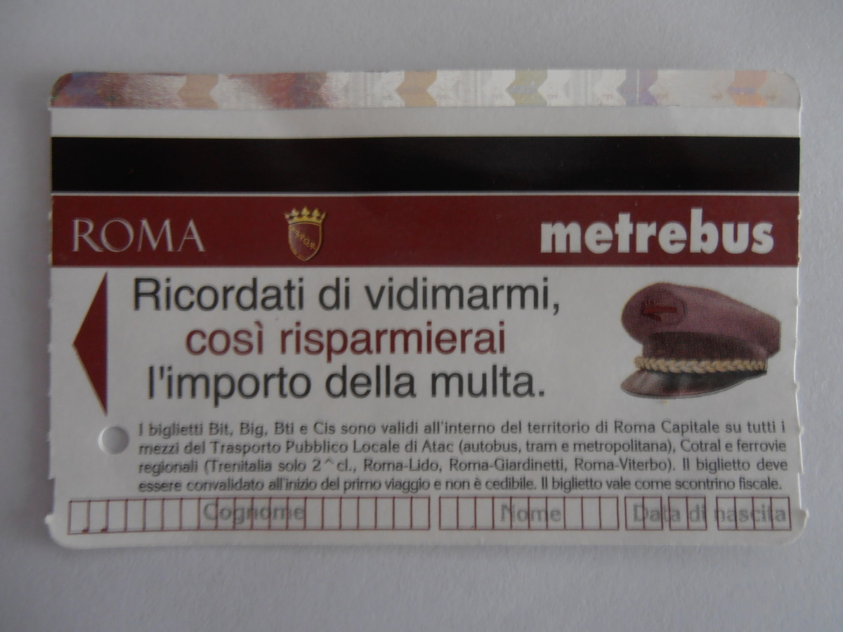 Front view of the Rome public transport ticket