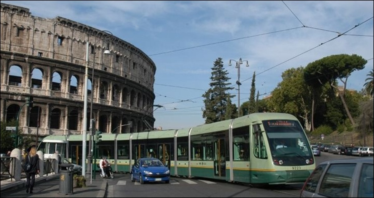 Tram in front of the Colosseum