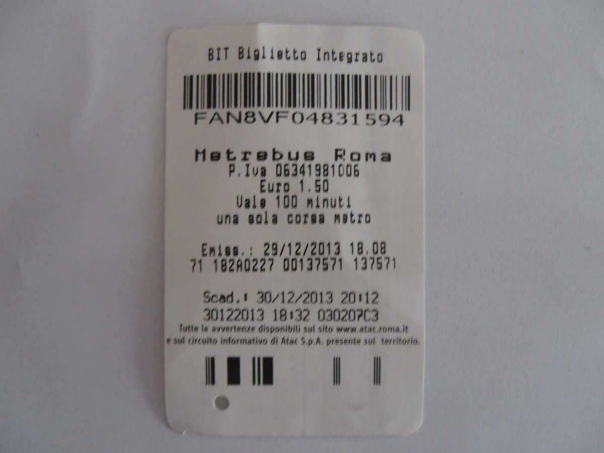 Back view of the Rome BIT public transport ticket