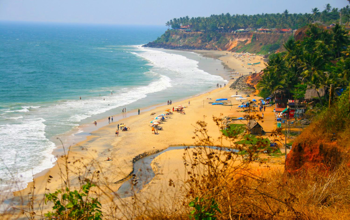 Varkala Beach As Seen From The Cliff.
