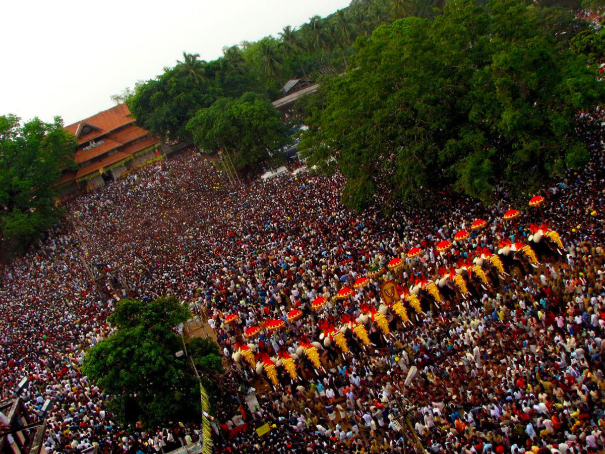 The Mass Of Humanity At The Thrissur Pooram.