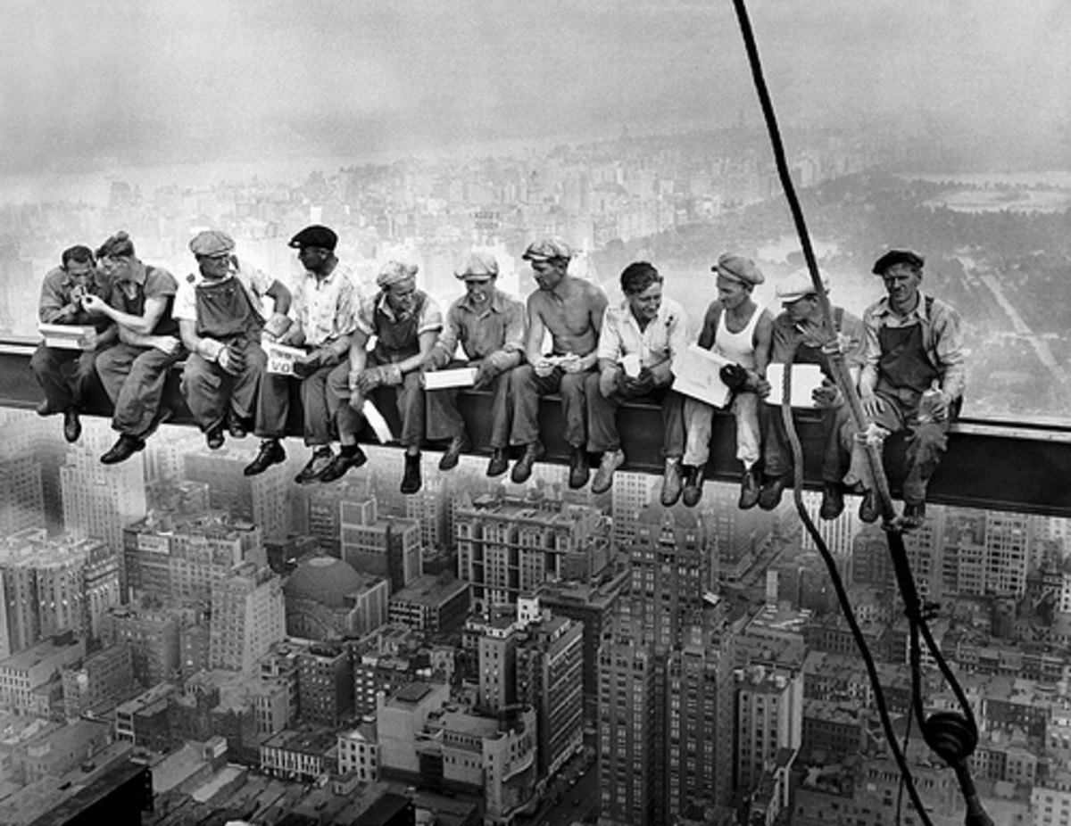 Famous photo: Lunches atop a steel beam 800 feet n the air, at the site of the RCA Building in Rockefeller Center in 1936.