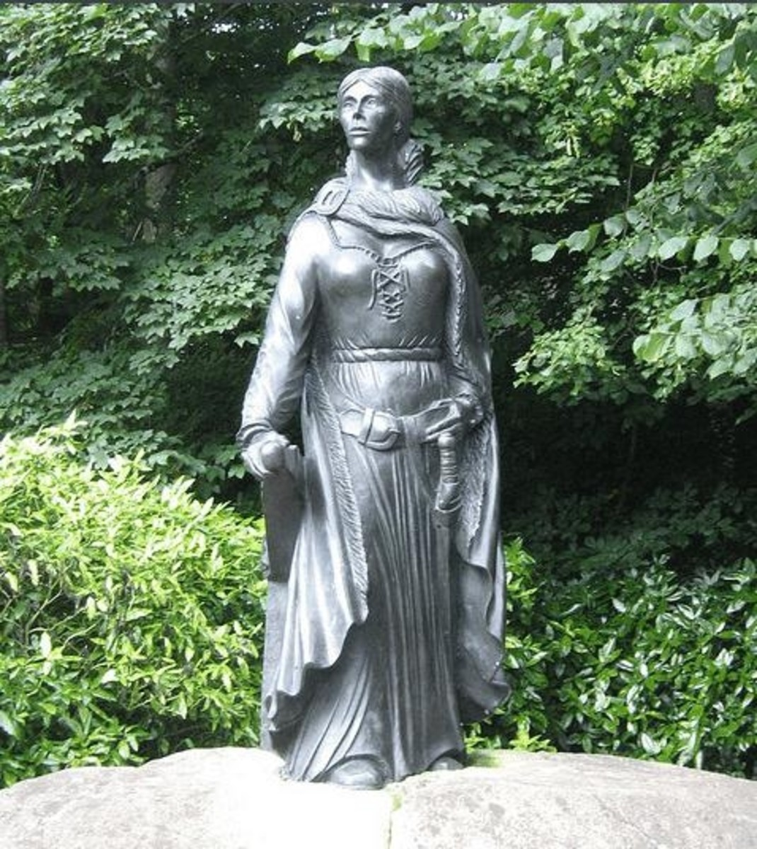 Bronze statue of Grace O'Malley at Westport House in Ireland.