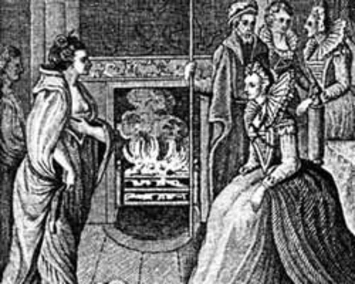 Ingraving of the meeting between Grace O'Malley (left) and Queen Elizabeth I.