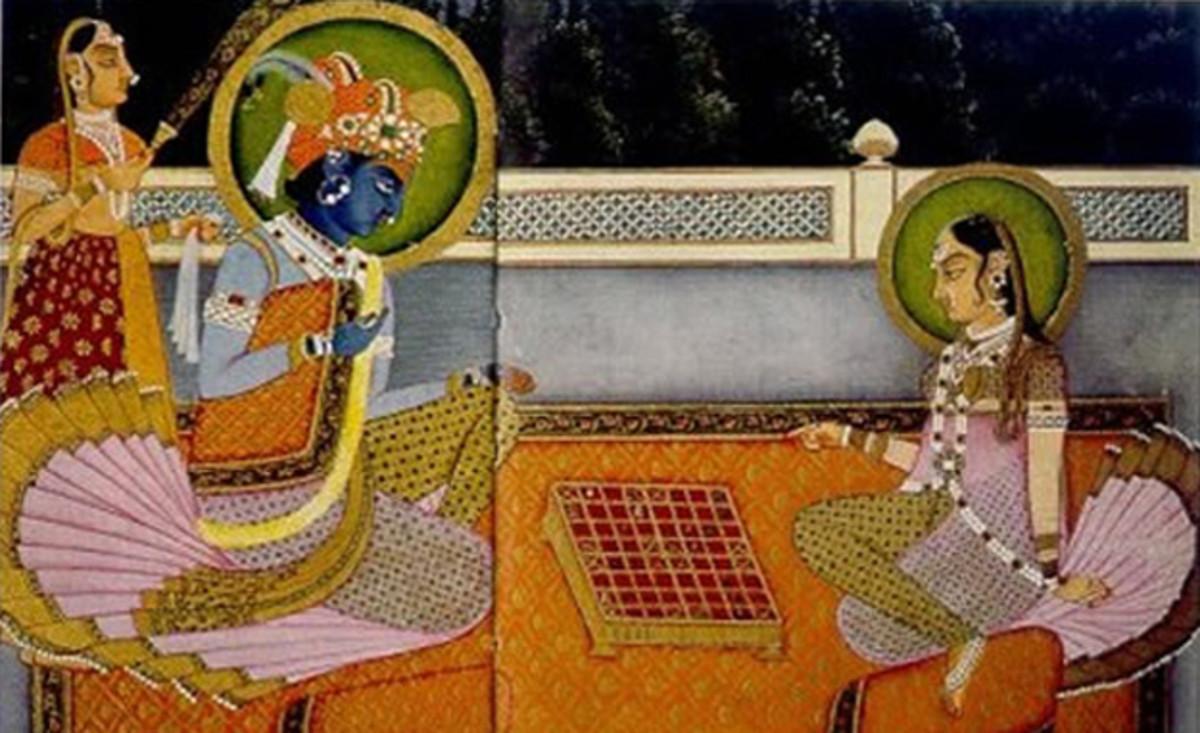 Krishna and Radha playing Chaturanga