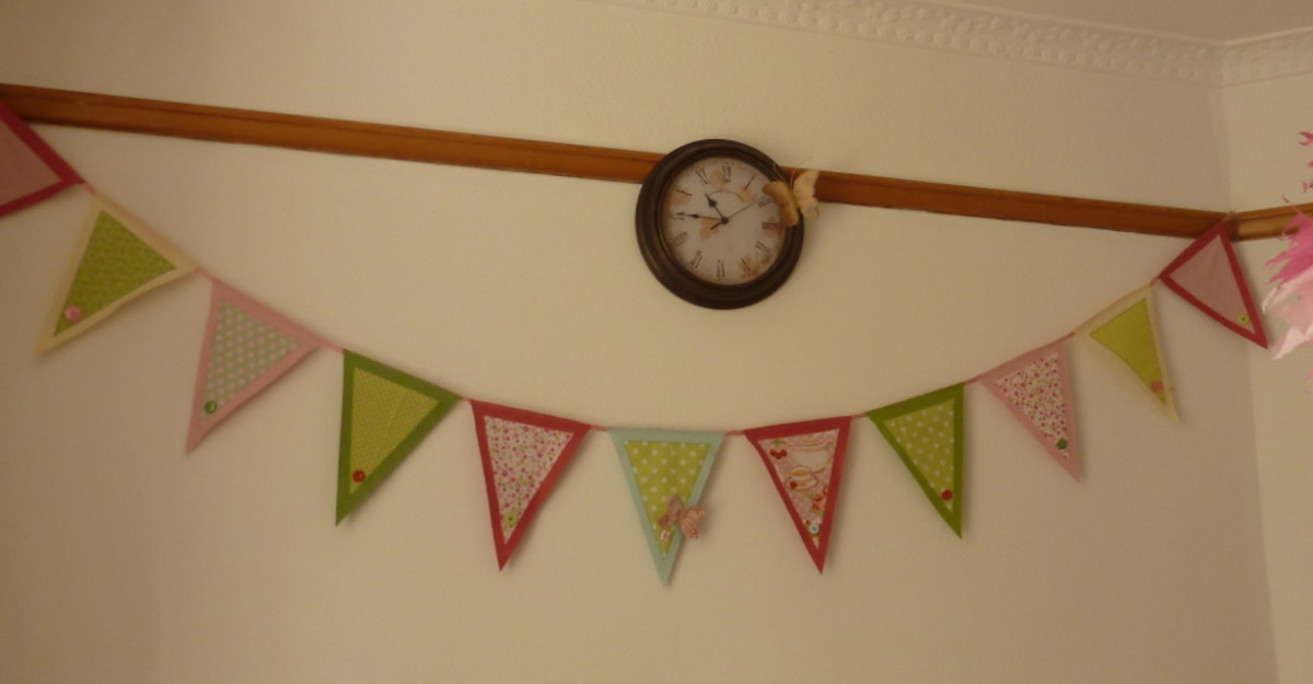 Finished pennant banner bunting made from felt and fabric scraps