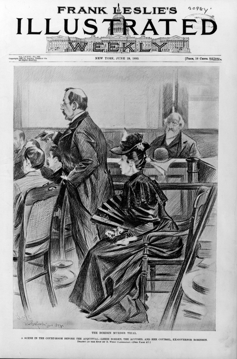 Illustration of Lizzie Borden at her trial.