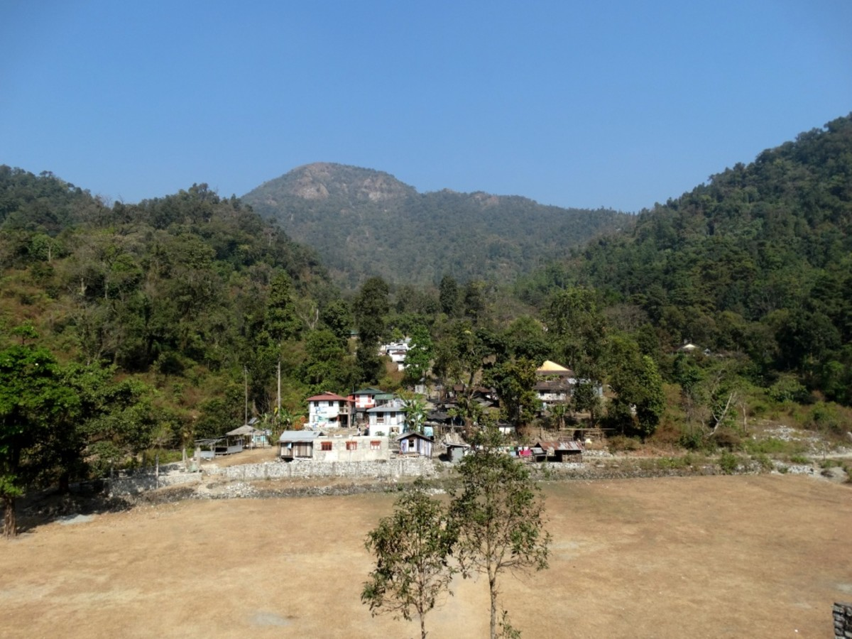 The Sadar Bazar village with Rover's Point at the background