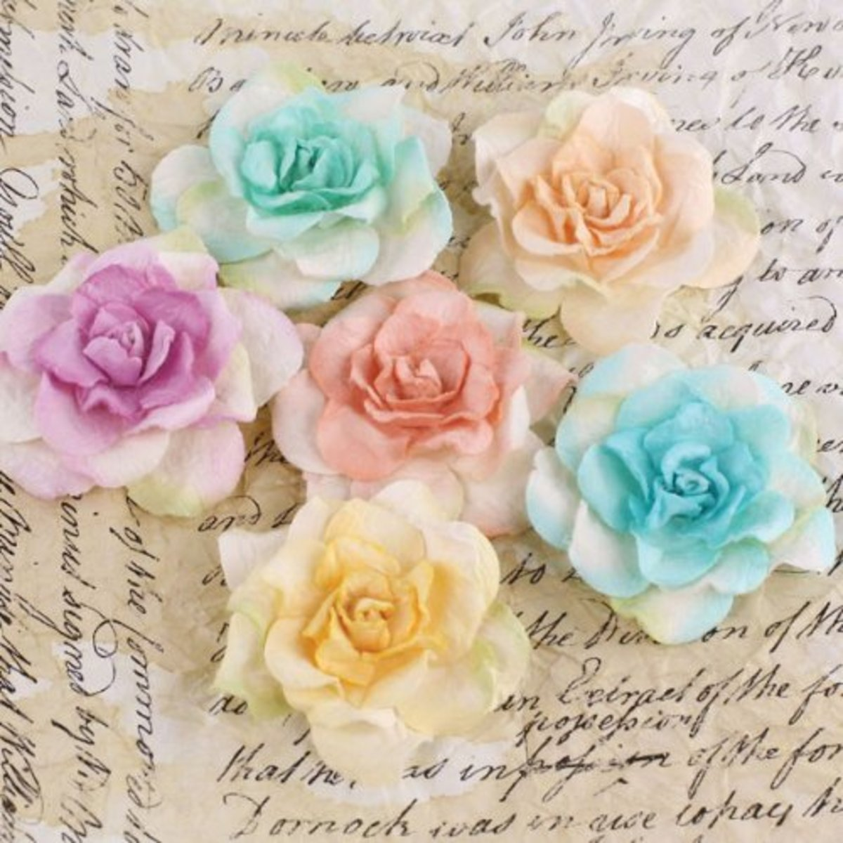 Beautiful paper flower embellishments can be used for a range of crafty projects.