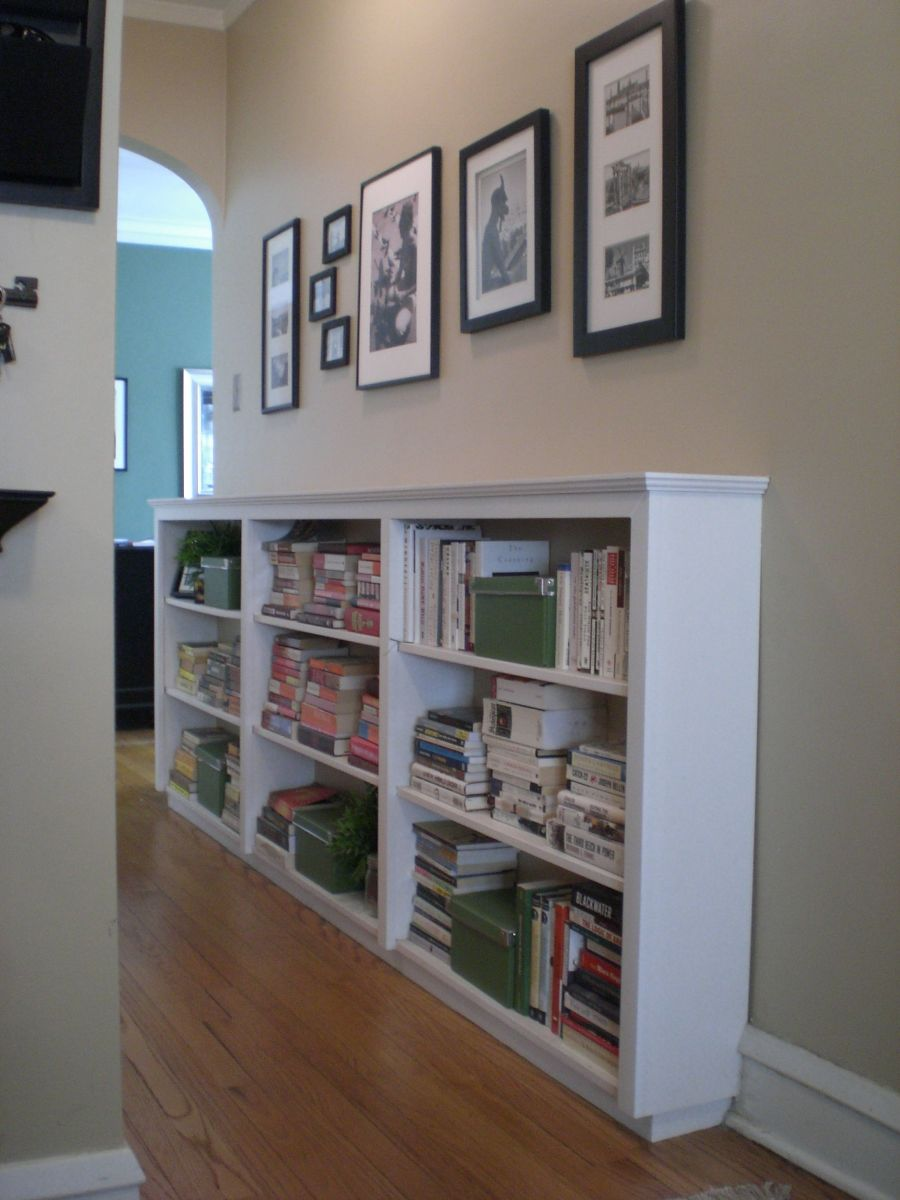 Narrow hallways are great for small bookshelves and encourage reading because they are so visible.