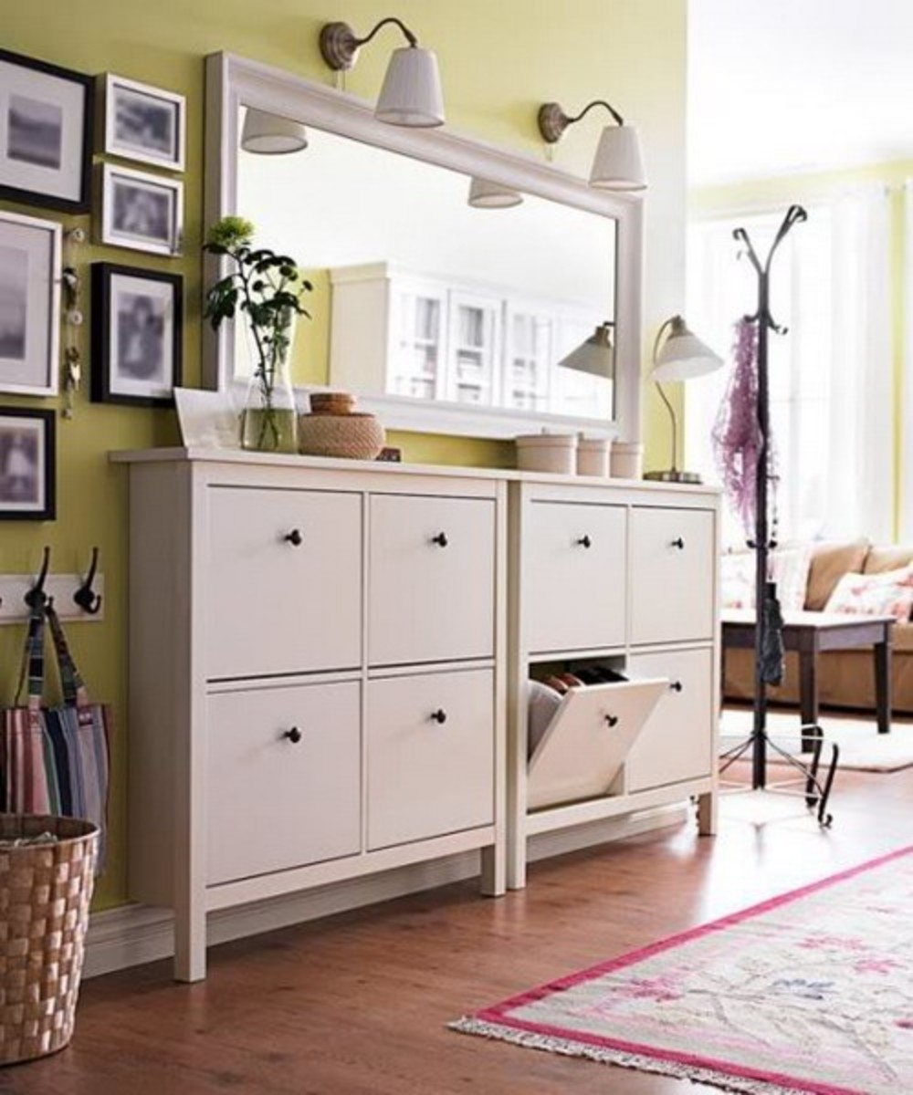 By cutting off the back legs of a cabinet, you can bring it flush to the wall. Drop drawers from 2 cabinets joined together by one countertop.