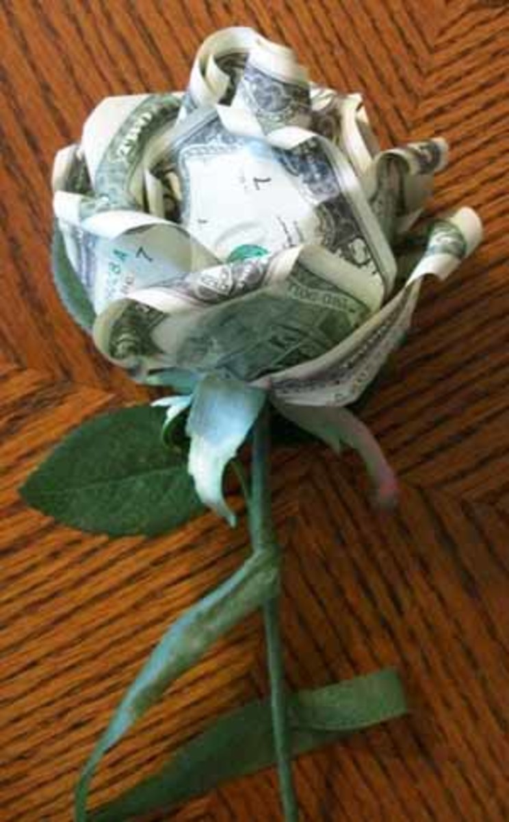 Here it holds together the parts of a money rose.