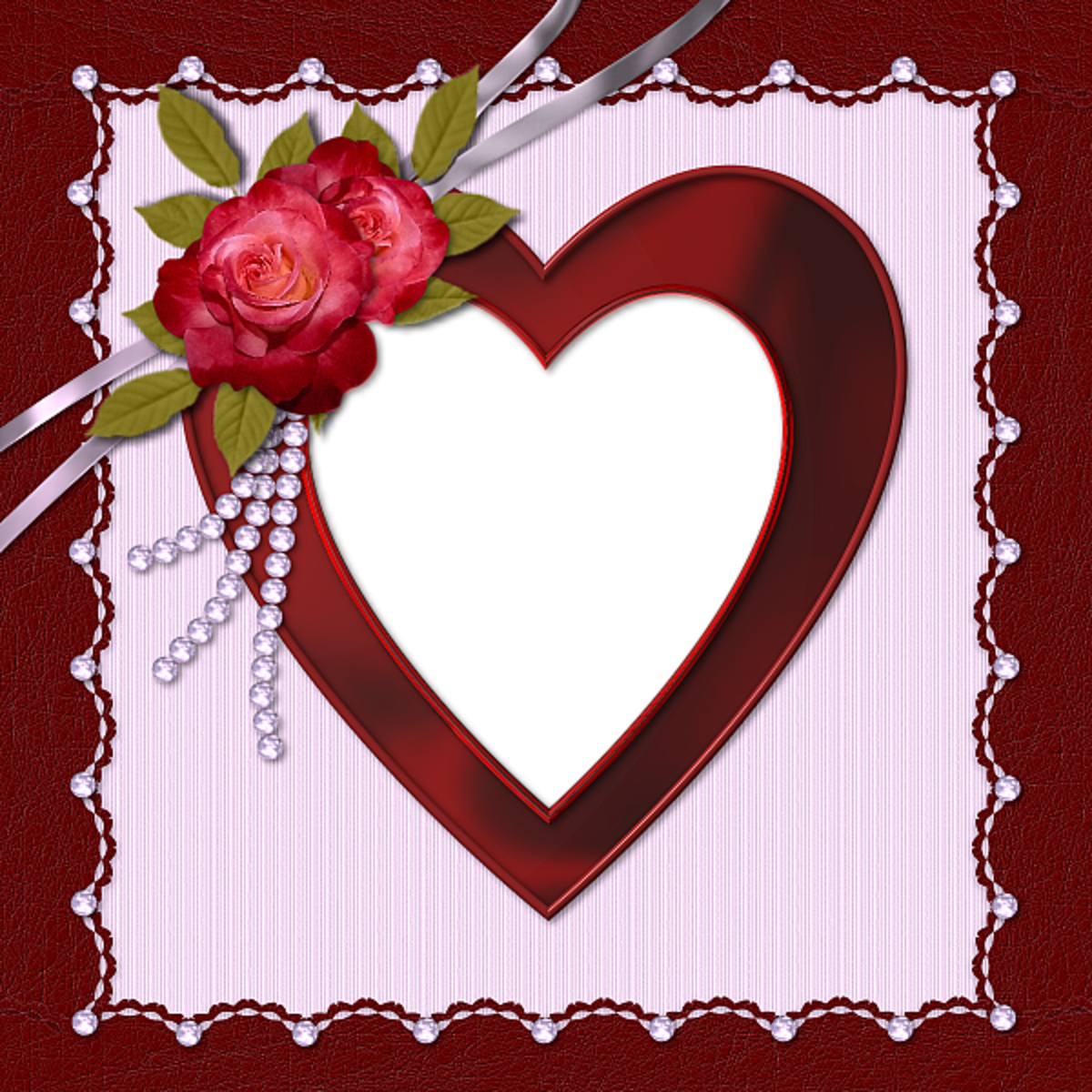 Deep Red Heart photo frame