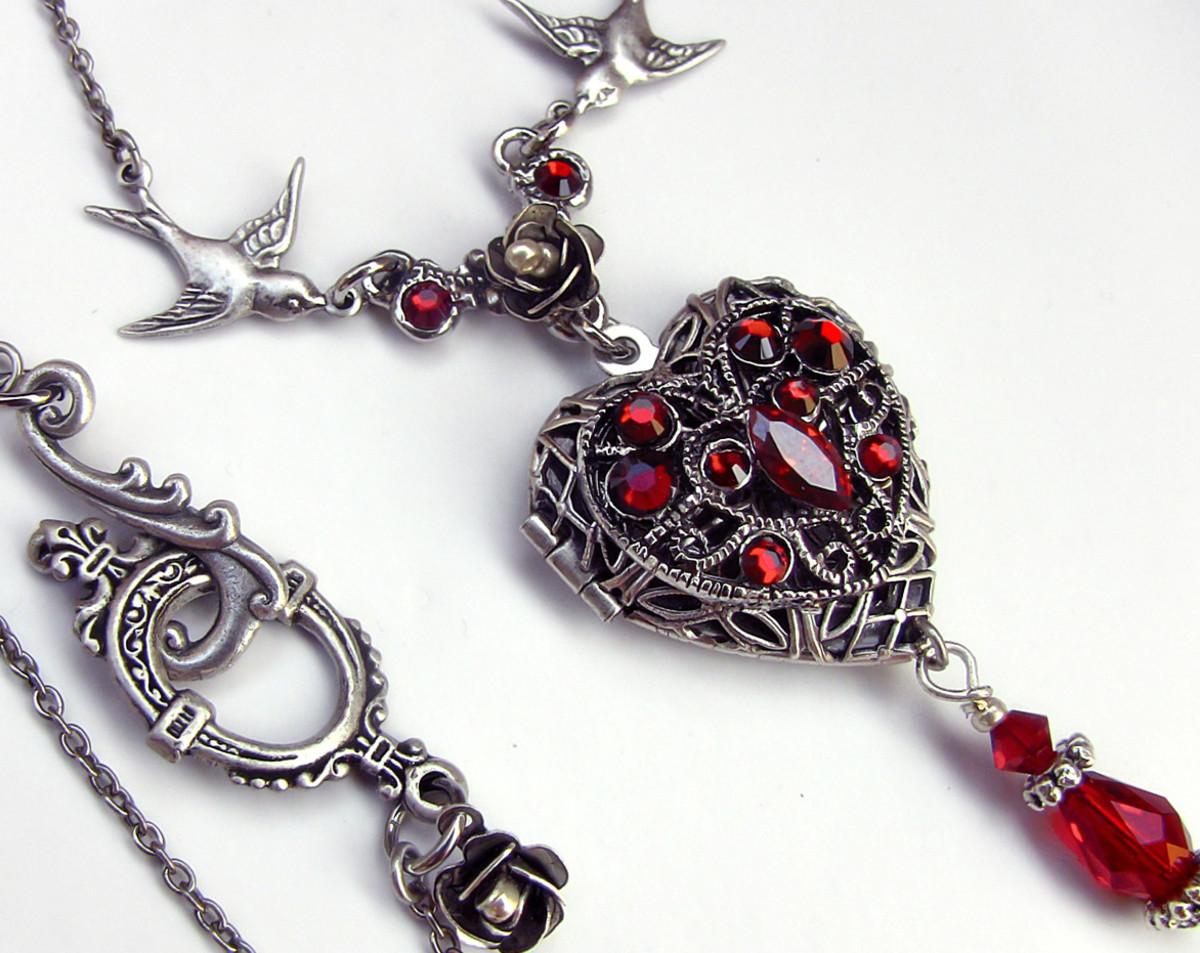 beautiful red stoned heart shape pendant