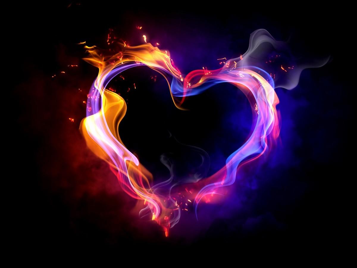 fiery image of purple heart
