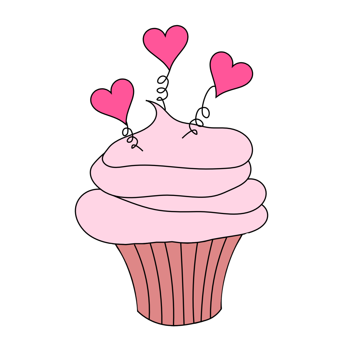 Who can deny a cup cake with pink hearts drawing