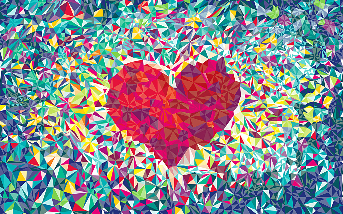 kaleidoscope of colours forming a red heart
