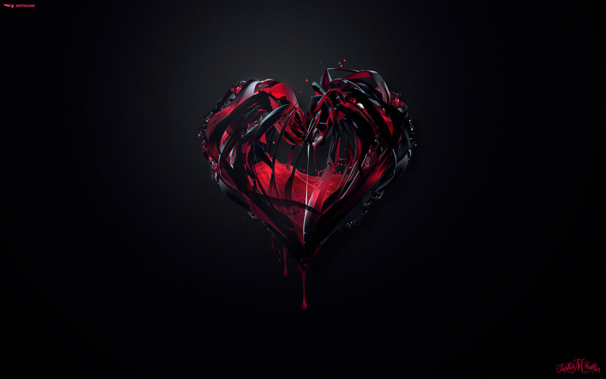Dark Red and Black Heart image. Heart full of hate image