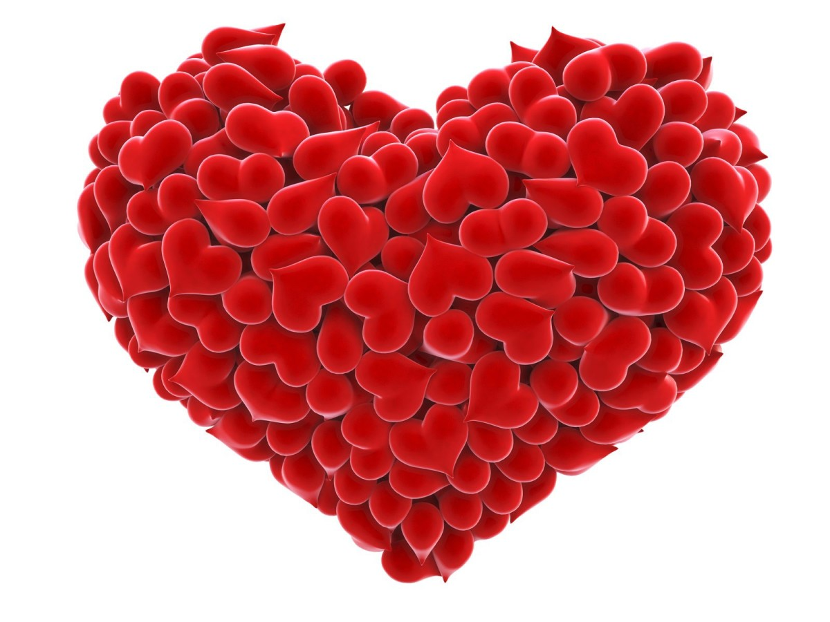 Big Red heart made of Velvety red mini hearts