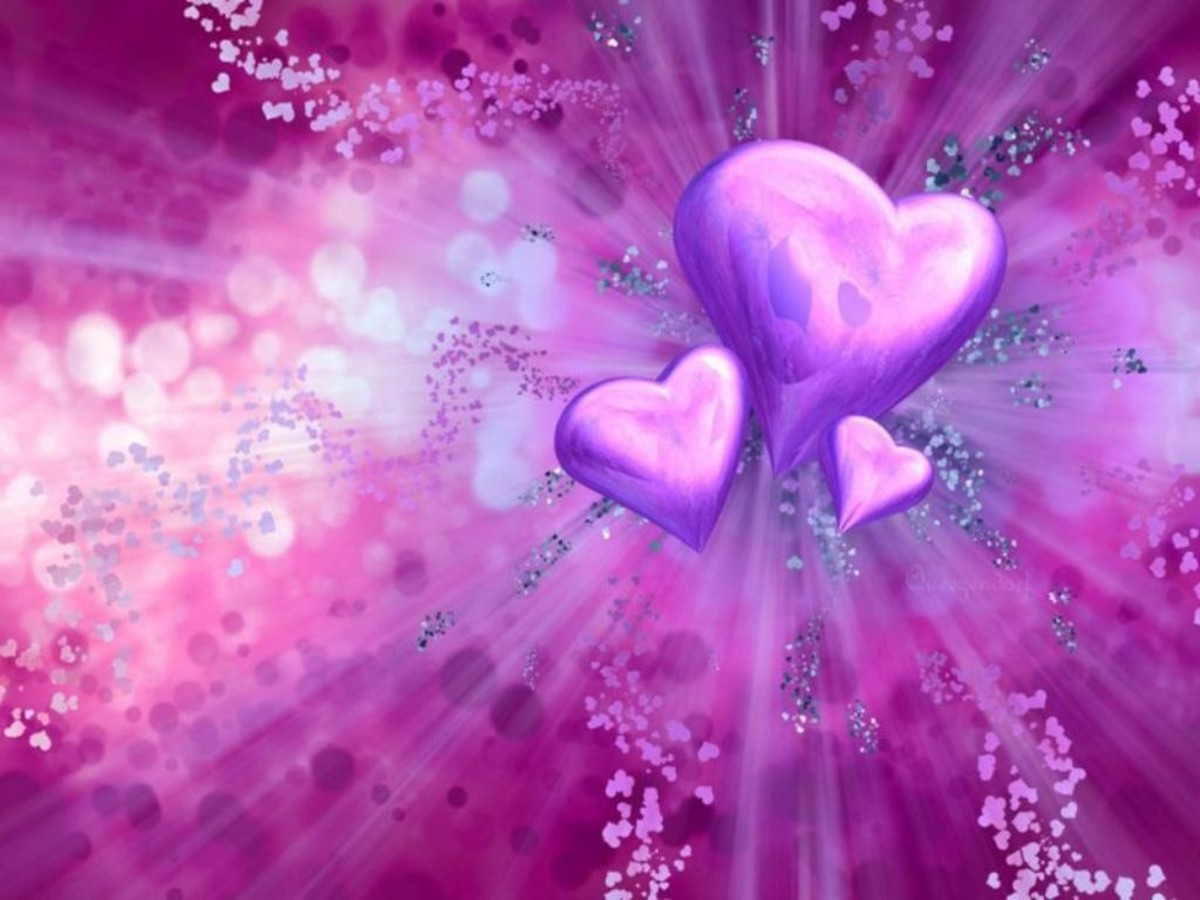 pictures of pink and purple hearts