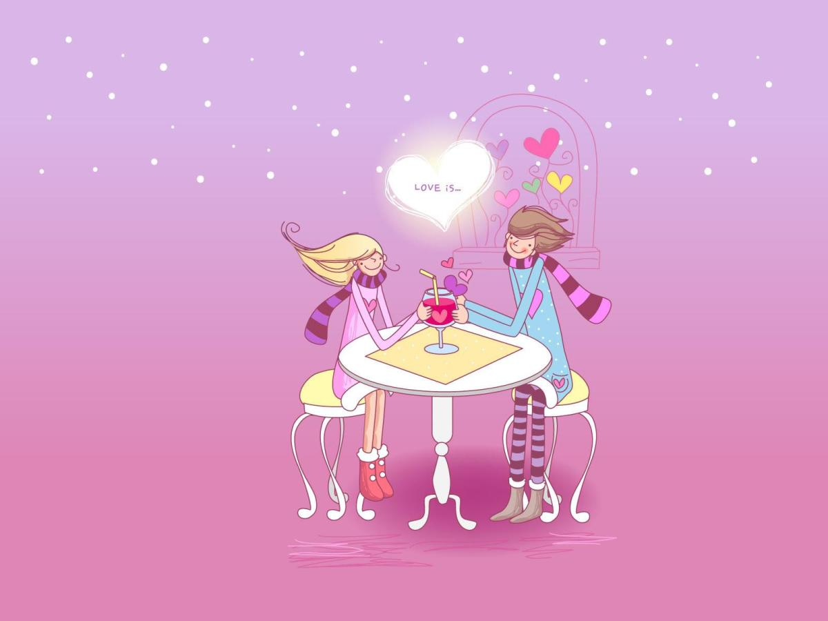Love is lovers dining with heart picture