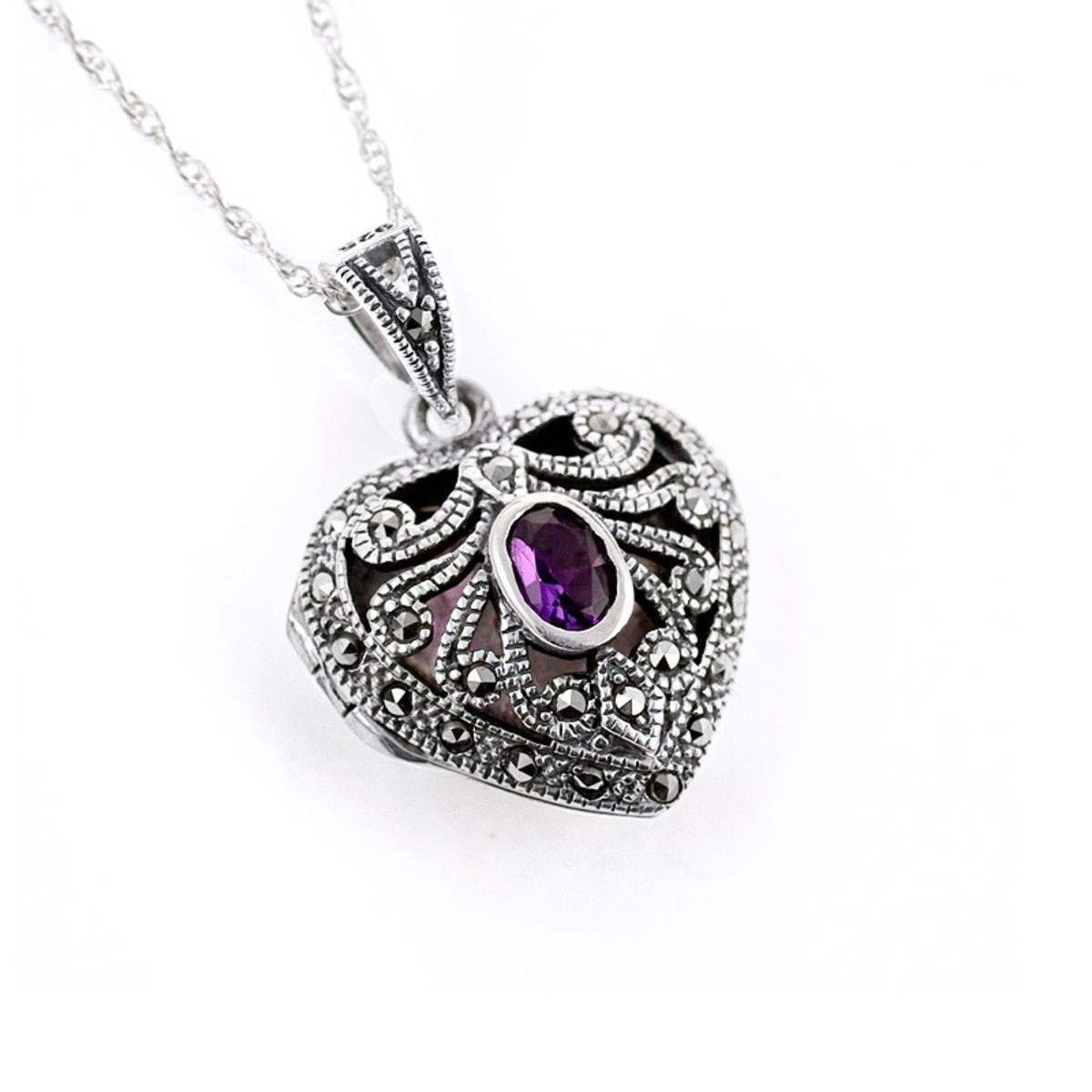 Exquisite Heart Shaped pendant with purple stone