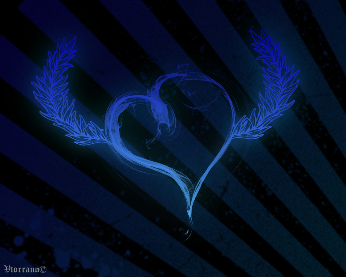 Blue Heart with feathers for wings