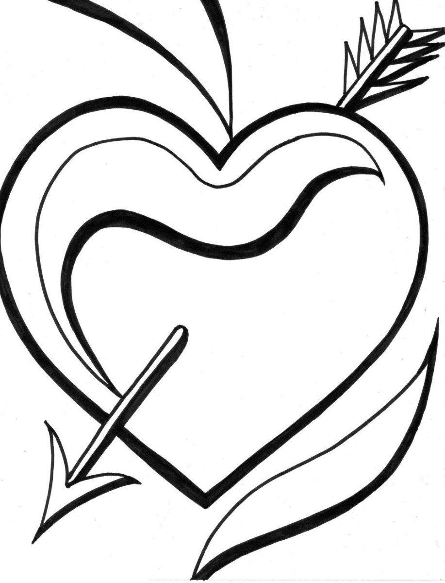 Heart coloring image with cupid's arrow