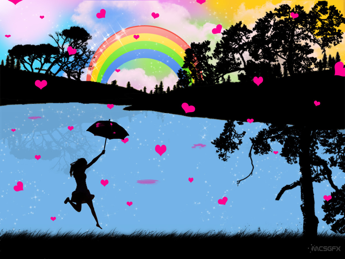 rainbows and little hearts image