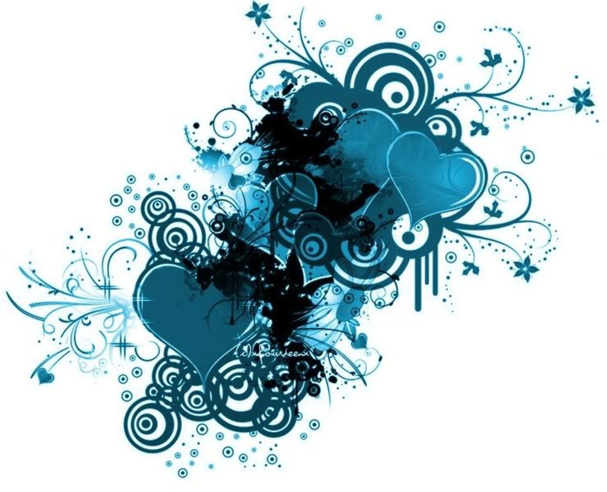 blue heart art work
