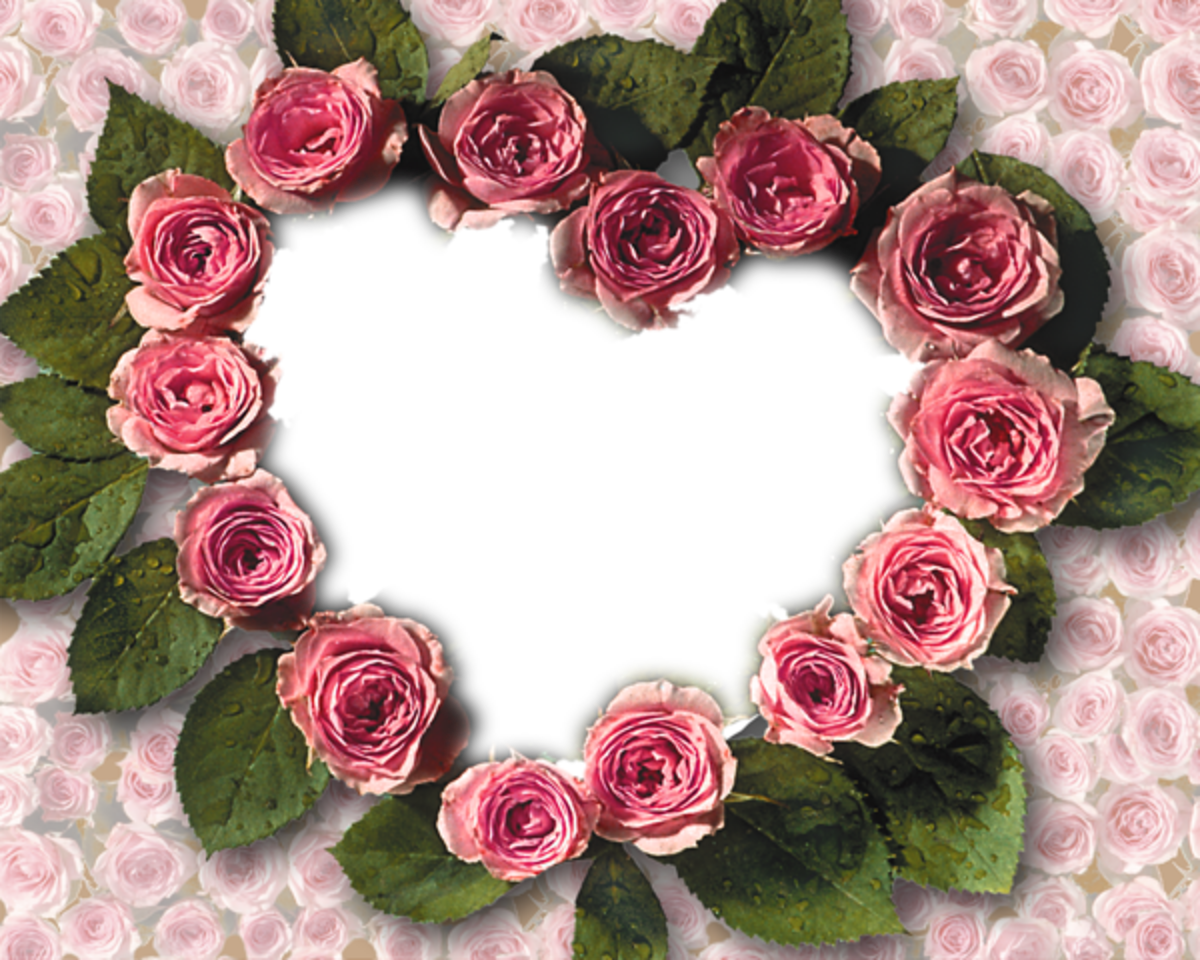 Pink floral Heart photo frame