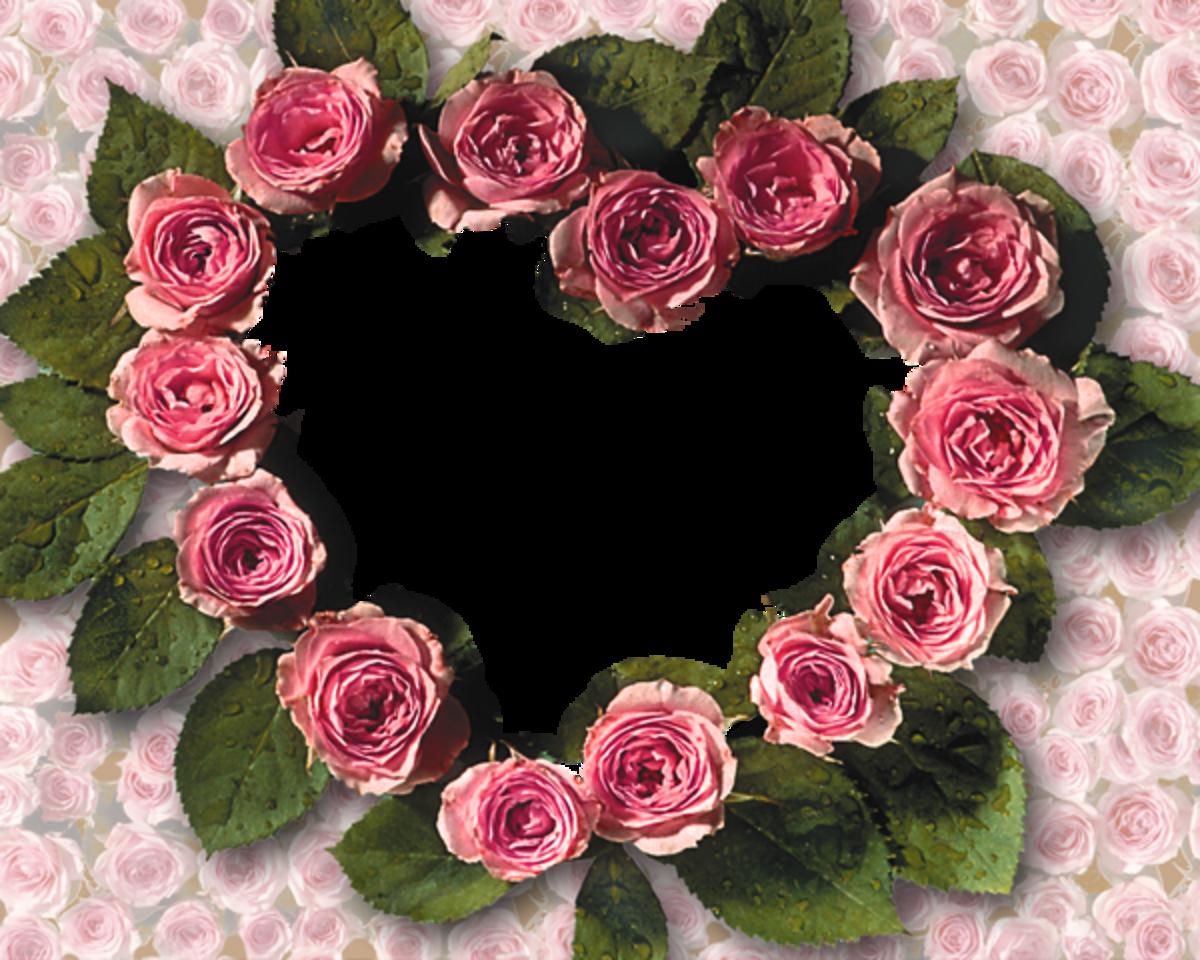 Pink floral Heart photo frame