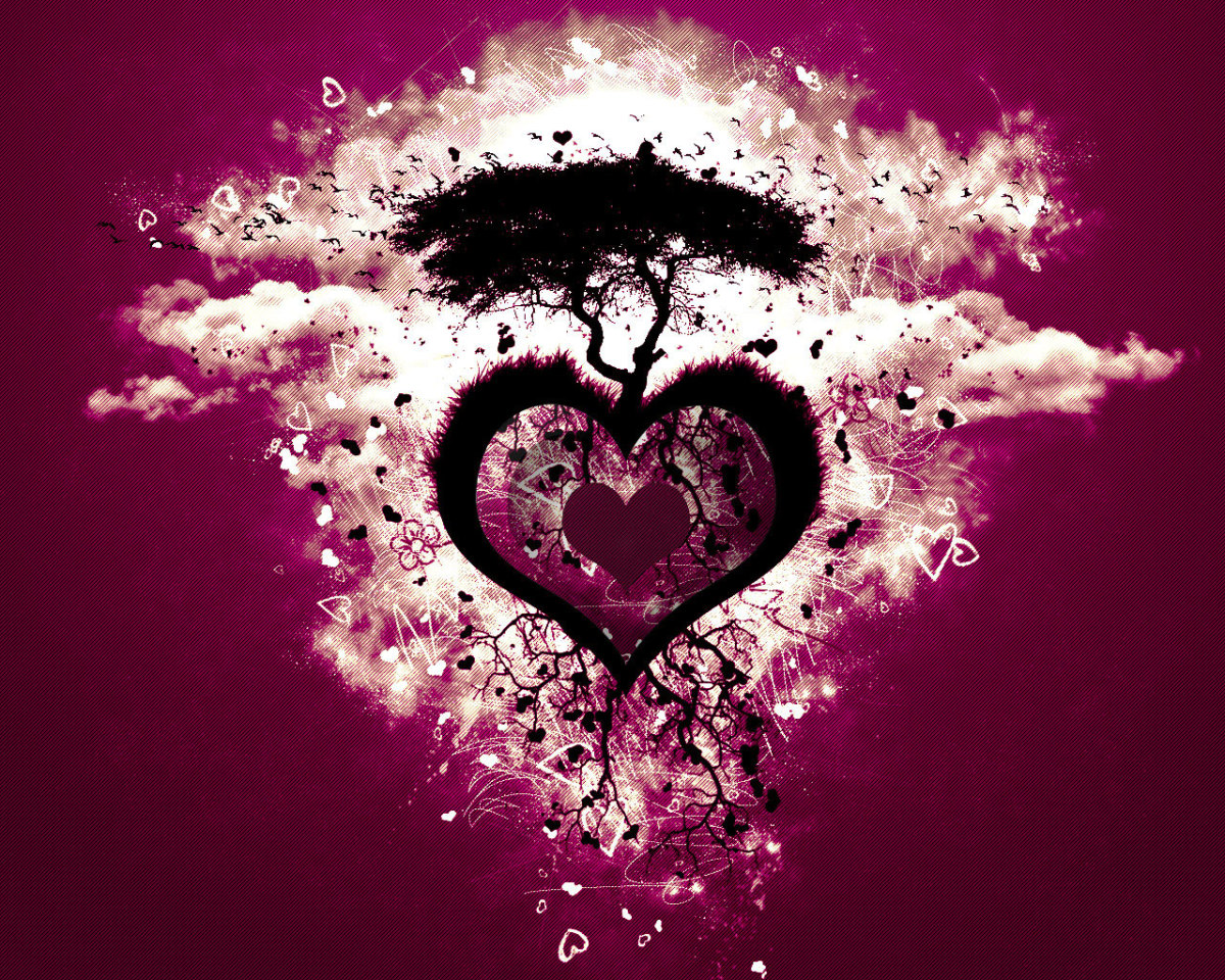 Image of heart with tree of love