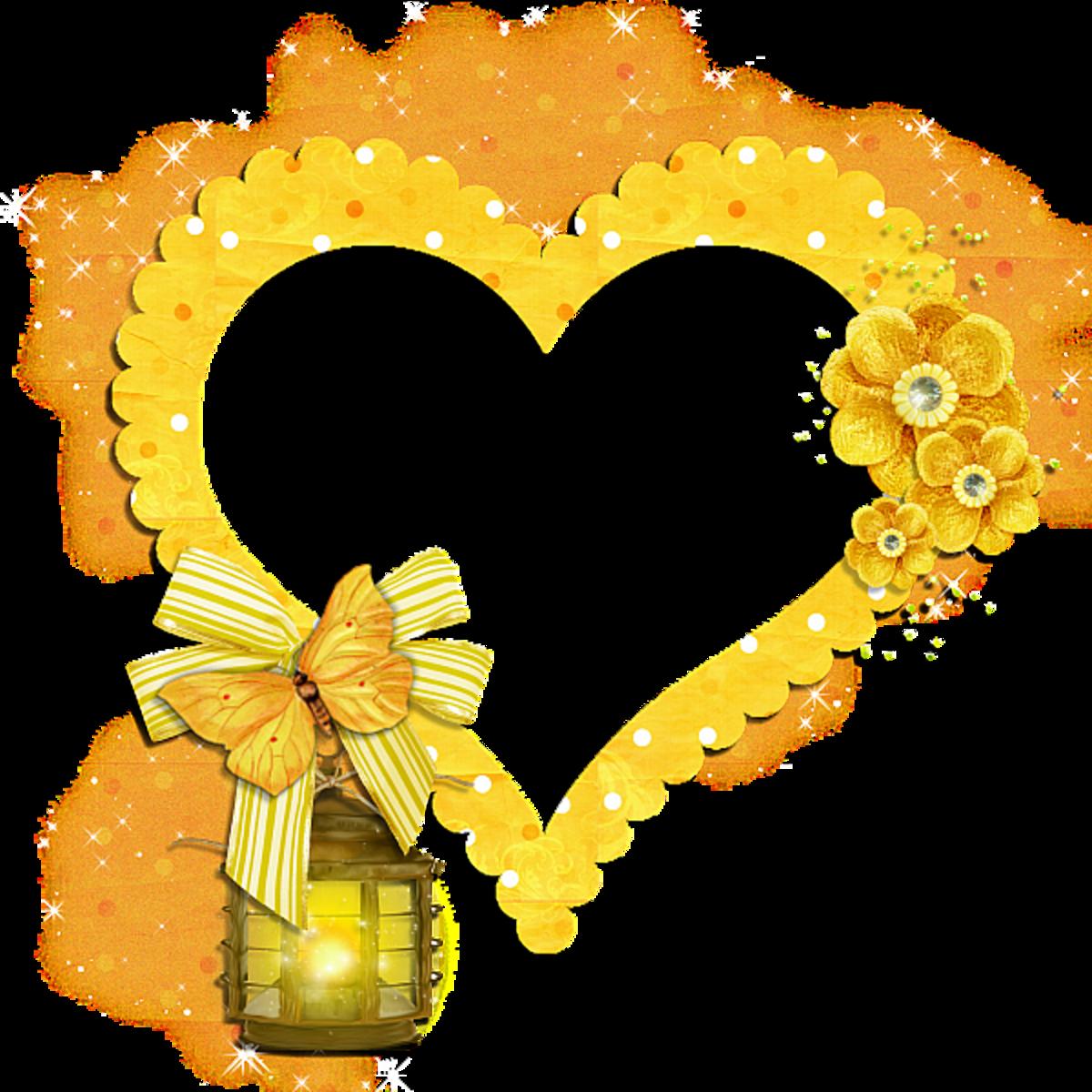 Yellow Heart photo frame